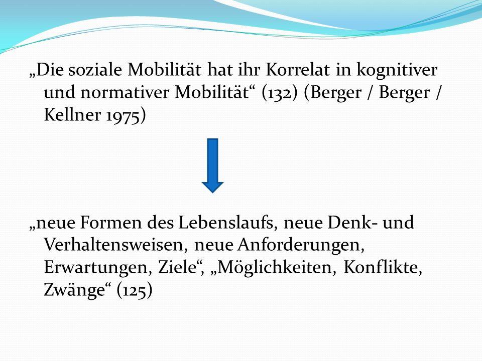 """""""Die soziale Mobilität hat ihr Korrelat in kognitiver und normativer Mobilität (132) (Berger / Berger / Kellner 1975)"""