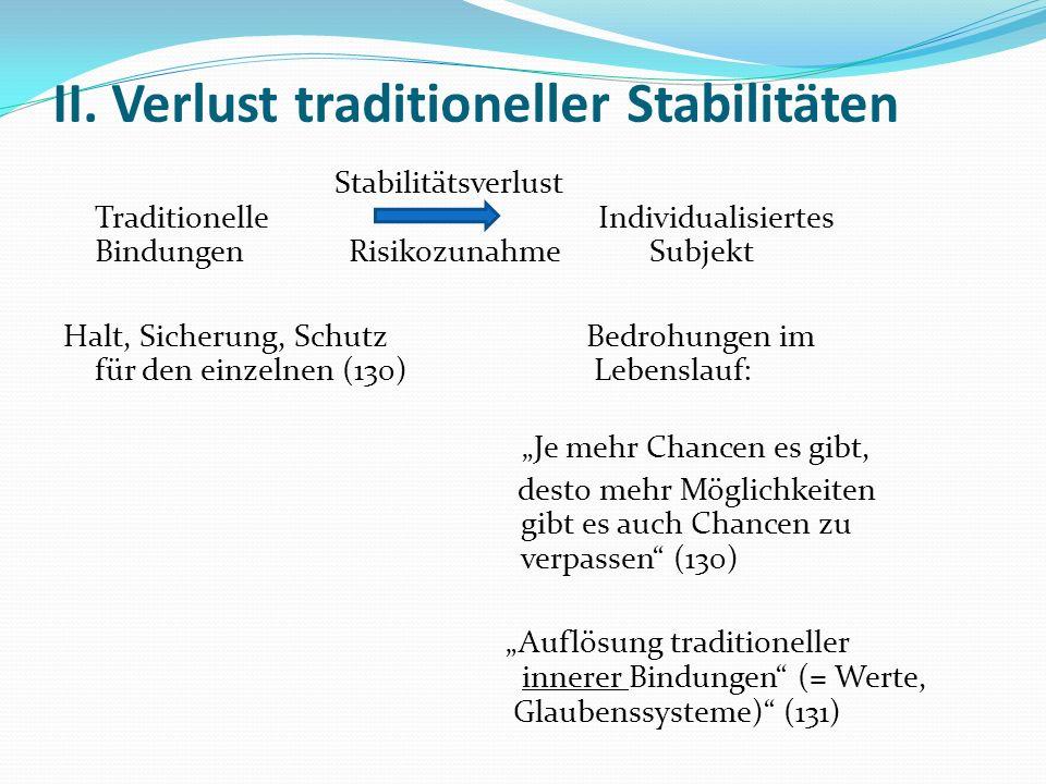 II. Verlust traditioneller Stabilitäten