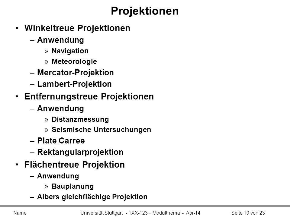 Projektionen Winkeltreue Projektionen Entfernungstreue Projektionen