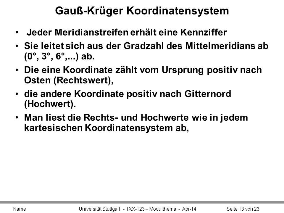 Gauß-Krüger Koordinatensystem