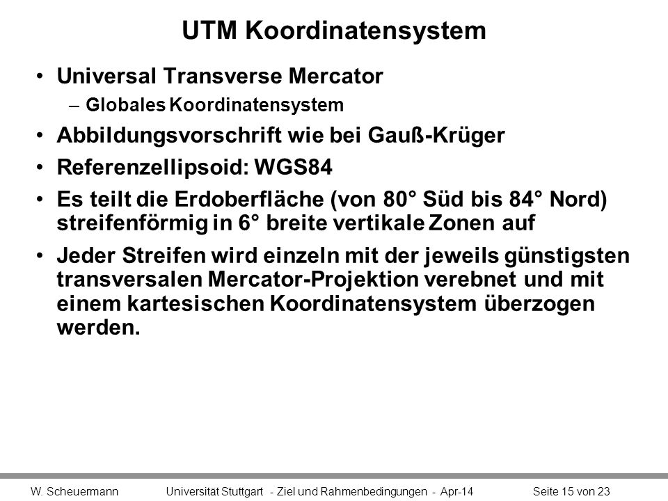 UTM Koordinatensystem