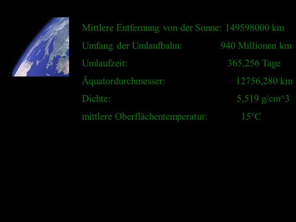 Mittlere Entfernung von der Sonne: 149598000 km