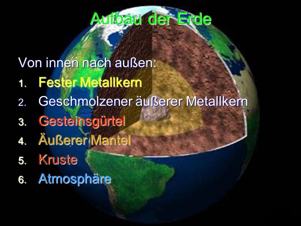 Aufbau der Erde Von innen nach außen: Fester Metallkern