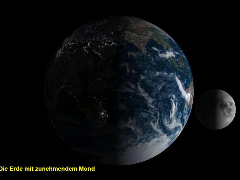 Die Erde mit zunehmendem Mond