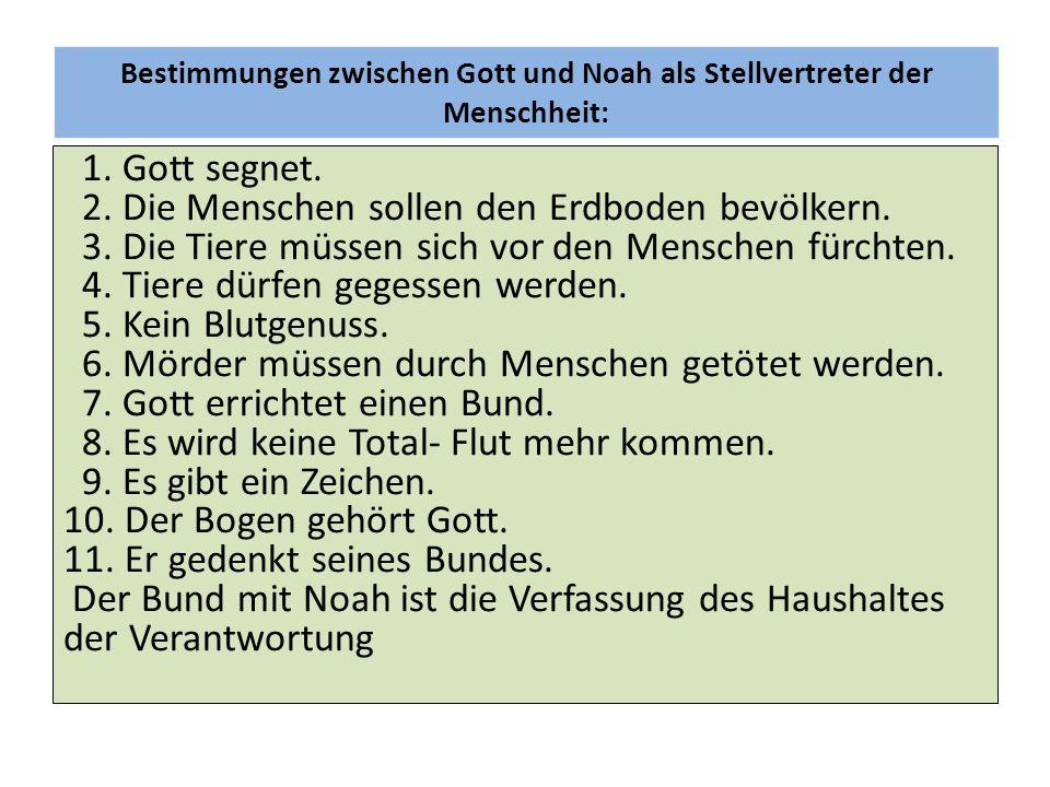 Bestimmungen zwischen Gott und Noah als Stellvertreter der Menschheit: