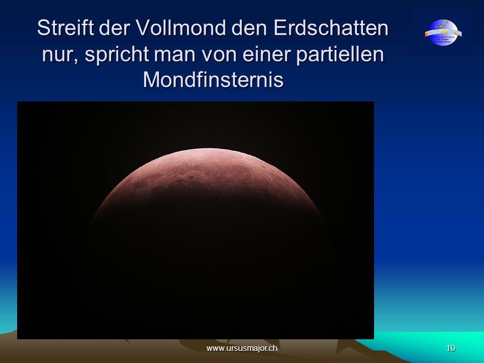 Streift der Vollmond den Erdschatten nur, spricht man von einer partiellen Mondfinsternis