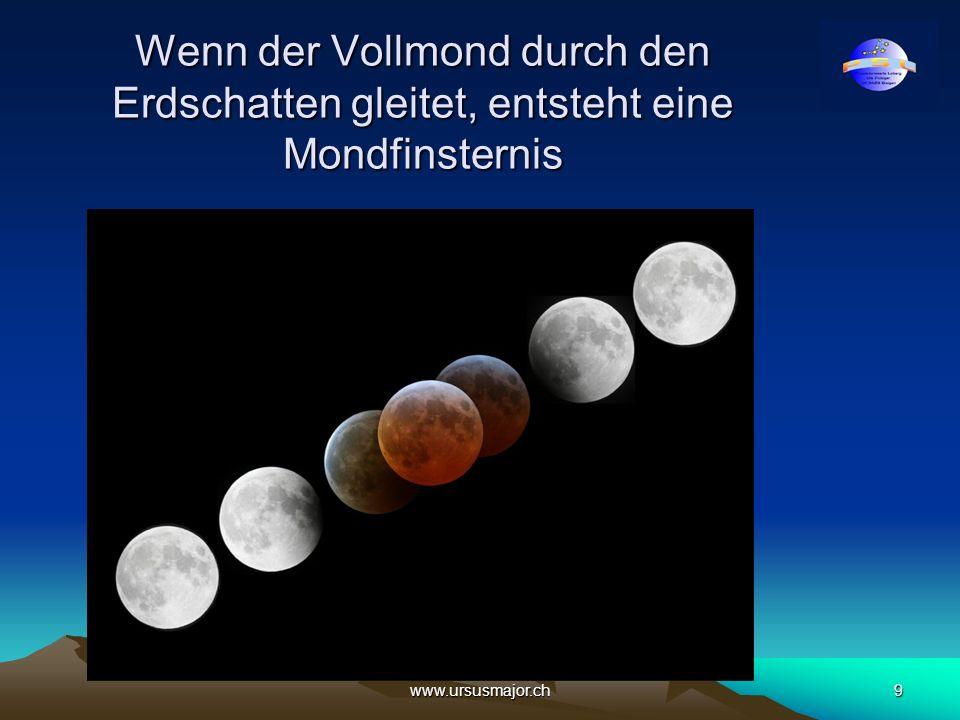 Wenn der Vollmond durch den Erdschatten gleitet, entsteht eine Mondfinsternis