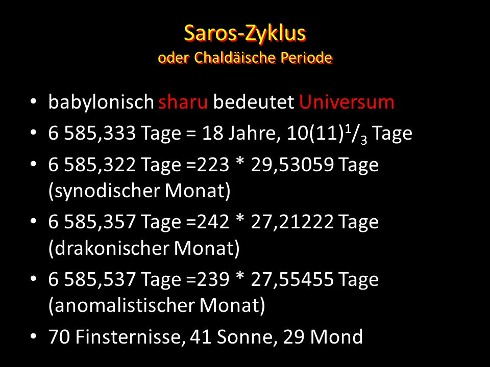 Saros-Zyklus oder Chaldäische Periode