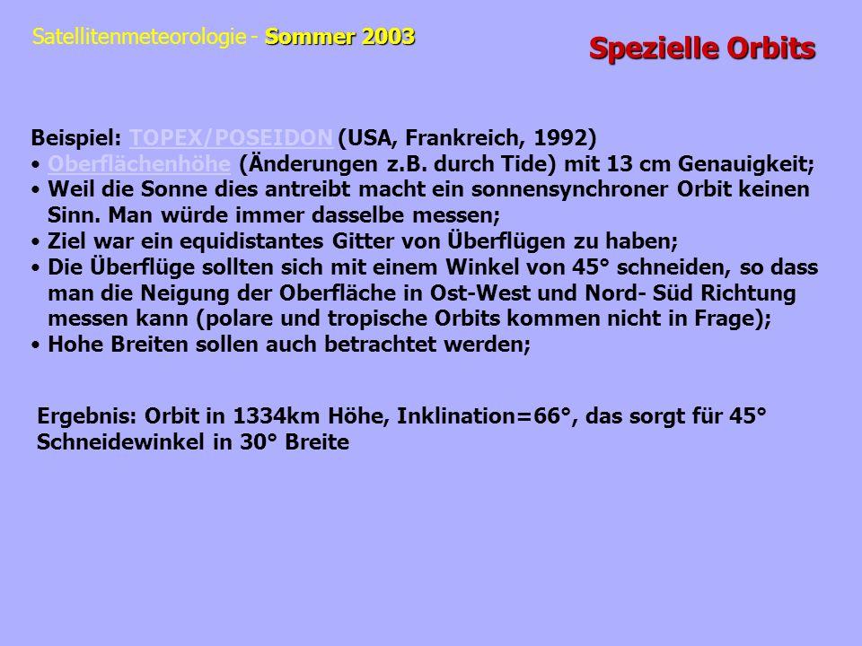Spezielle Orbits Beispiel: TOPEX/POSEIDON (USA, Frankreich, 1992)