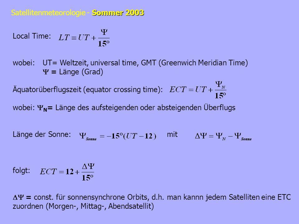 Local Time:wobei: UT= Weltzeit, universal time, GMT (Greenwich Meridian Time)  = Länge (Grad) Äquatorüberflugszeit (equator crossing time):