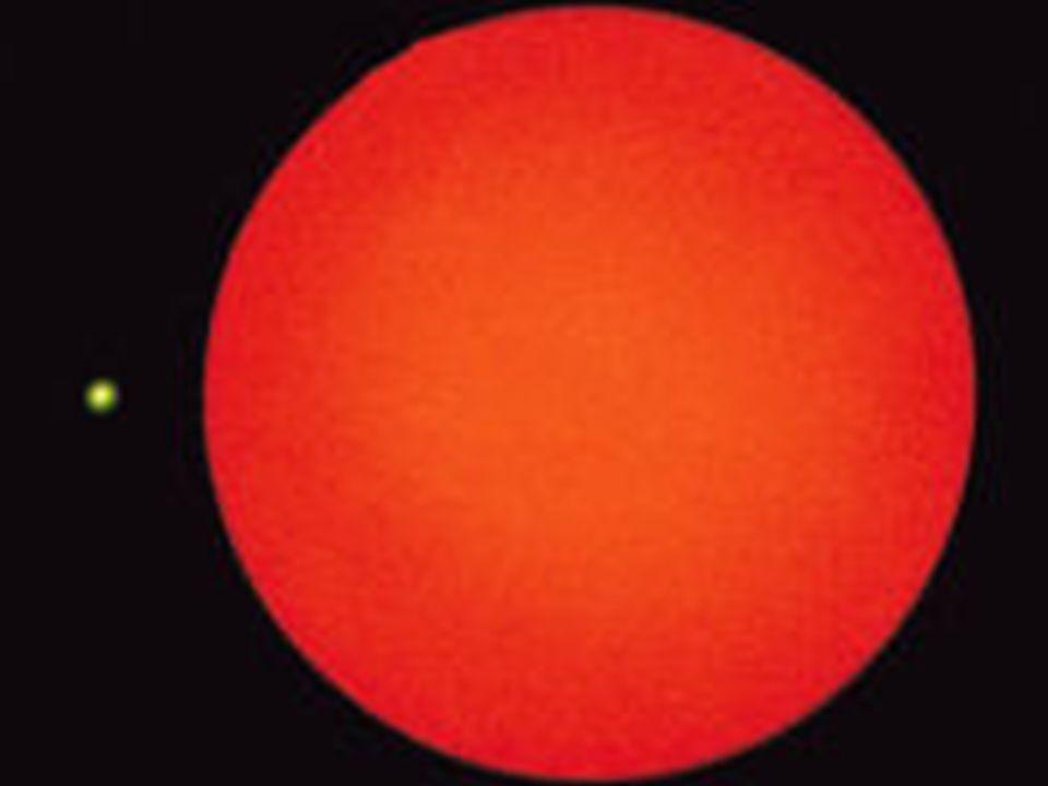 Ein roter Riese Roter Riese (gelber Punkt = Größe der Sonne!)