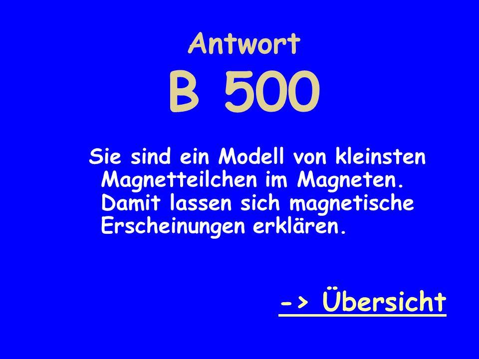 Antwort B 500 -> Übersicht
