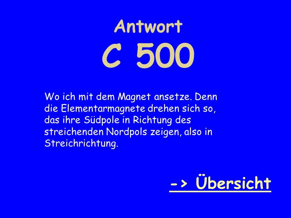 Antwort C 500 -> Übersicht