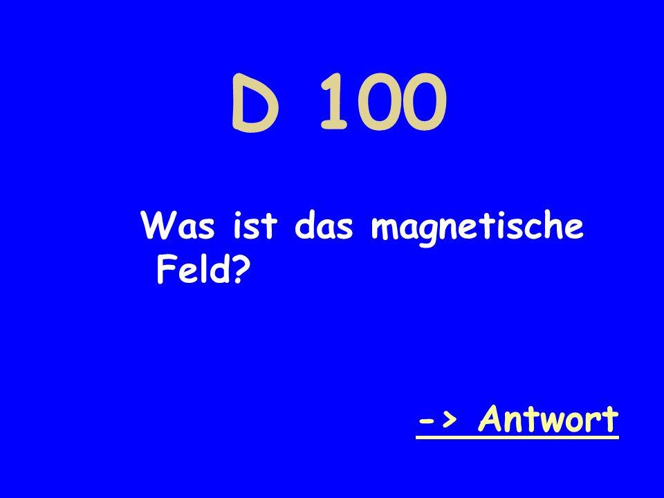 D 100 Was ist das magnetische Feld -> Antwort