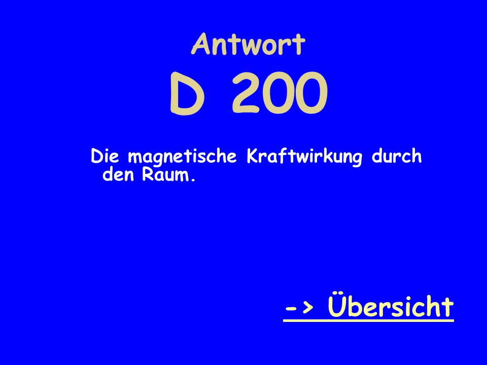 Antwort D 200 -> Übersicht