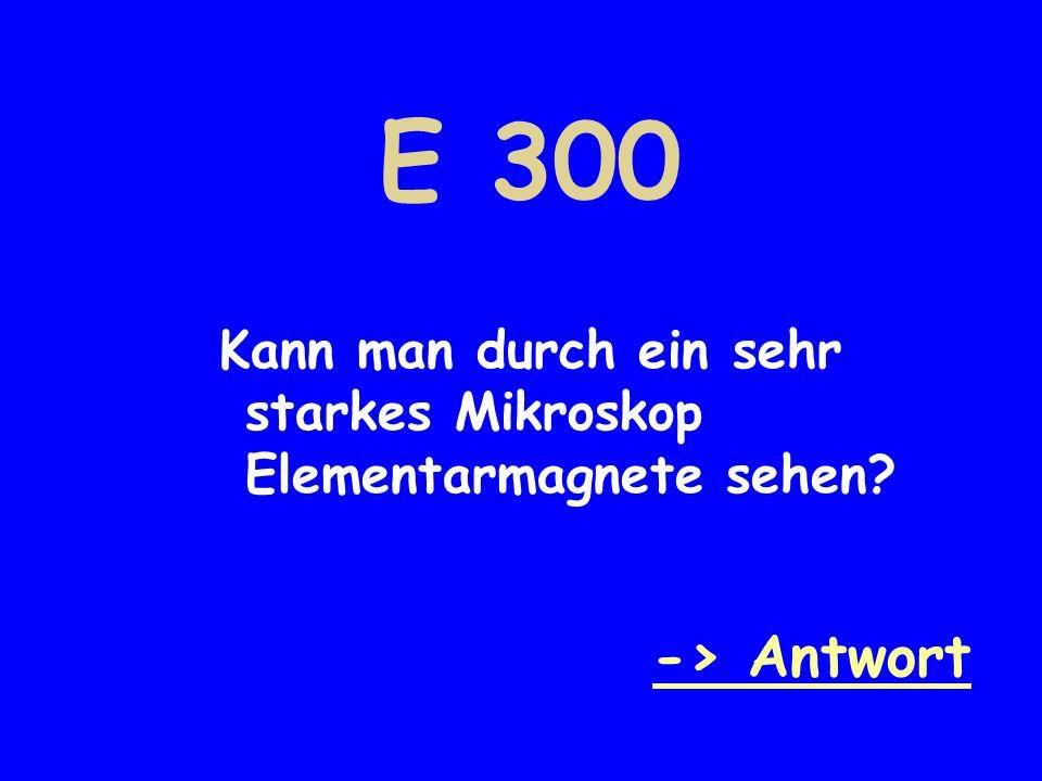 E 300 Kann man durch ein sehr starkes Mikroskop Elementarmagnete sehen -> Antwort