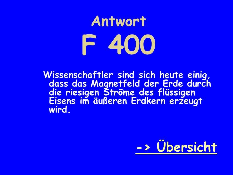 Antwort F 400 -> Übersicht