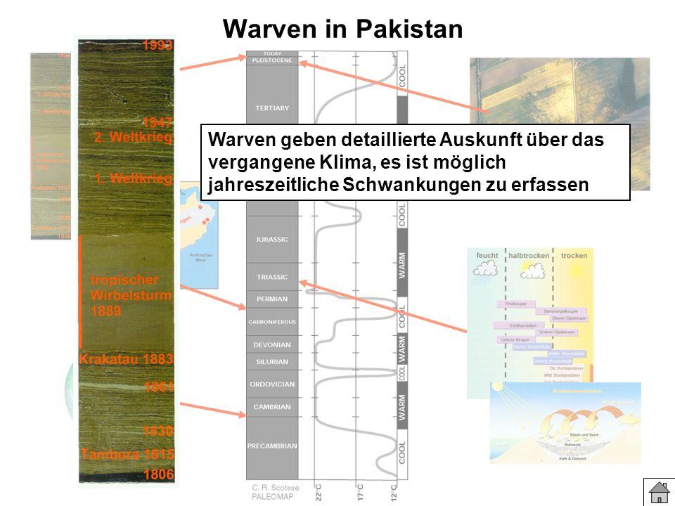 Warven in Pakistan Warven geben detaillierte Auskunft über das vergangene Klima, es ist möglich jahreszeitliche Schwankungen zu erfassen.