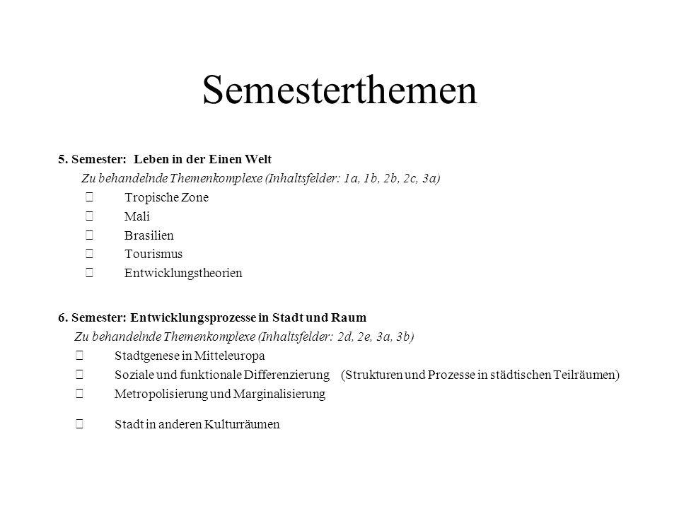 Semesterthemen 5. Semester: Leben in der Einen Welt