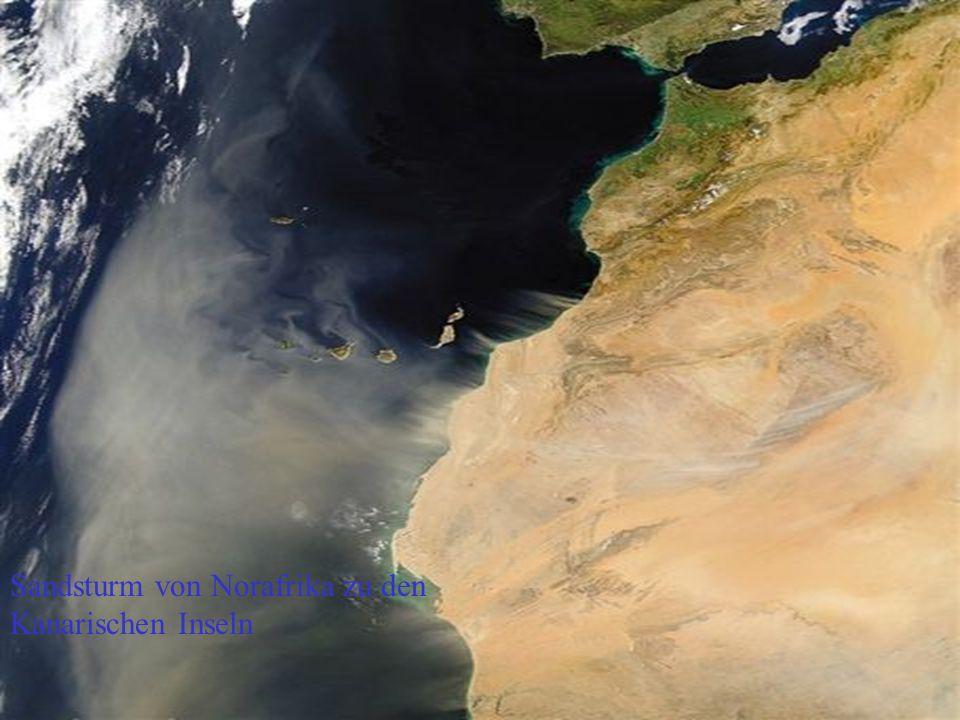 Sandsturm von Norafrika zu den Kanarischen Inseln
