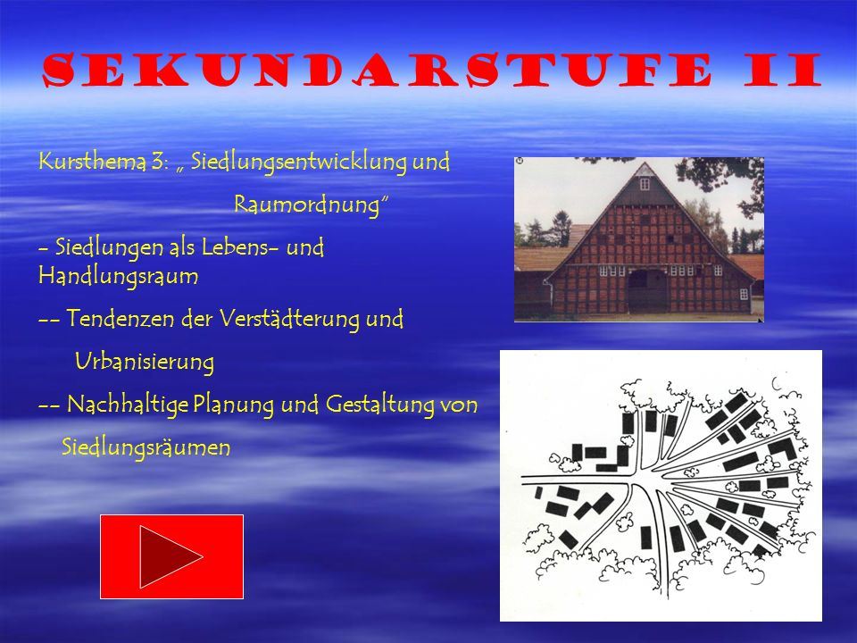 """Sekundarstufe II Kursthema 3: """" Siedlungsentwicklung und Raumordnung"""