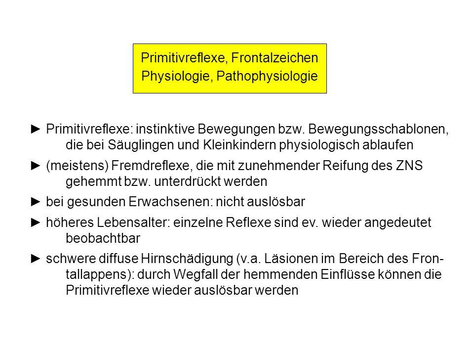 Primitivreflexe, Frontalzeichen Physiologie, Pathophysiologie