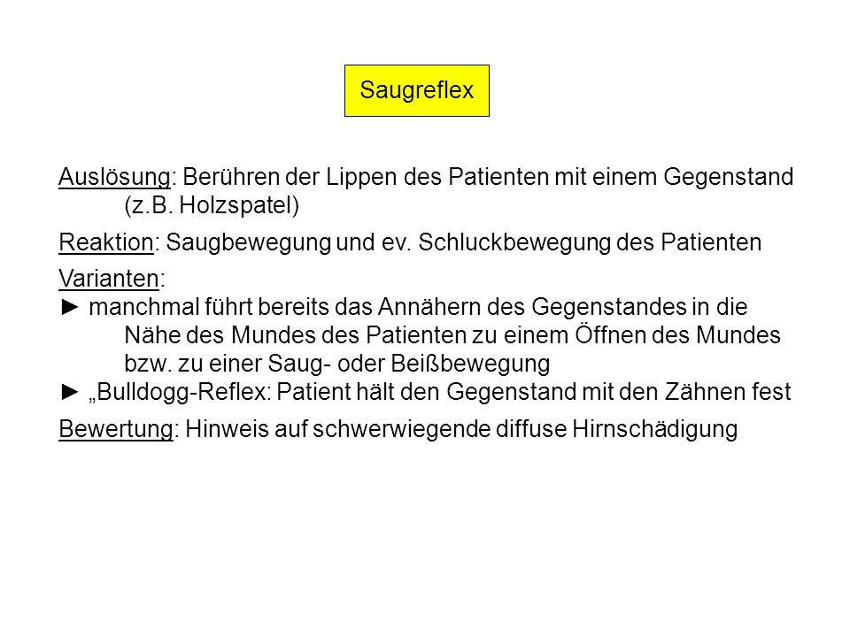 Saugreflex Auslösung: Berühren der Lippen des Patienten mit einem Gegenstand. (z.B. Holzspatel)