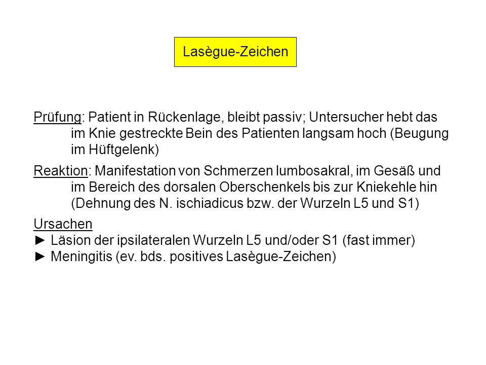 Lasègue-Zeichen Prüfung: Patient in Rückenlage, bleibt passiv; Untersucher hebt das. im Knie gestreckte Bein des Patienten langsam hoch (Beugung.