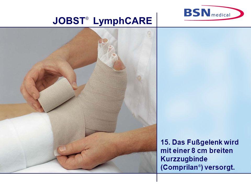 15. Das Fußgelenk wird mit einer 8 cm breiten Kurzzugbinde (Comprilan®) versorgt.