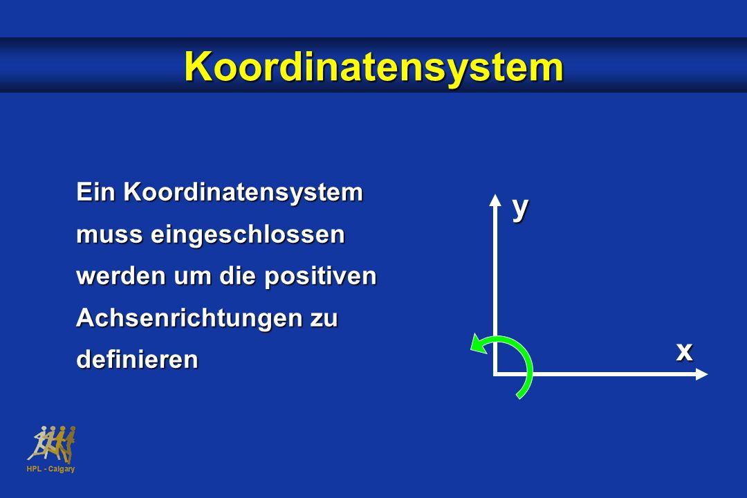 Koordinatensystem Ein Koordinatensystem muss eingeschlossen werden um die positiven Achsenrichtungen zu definieren.