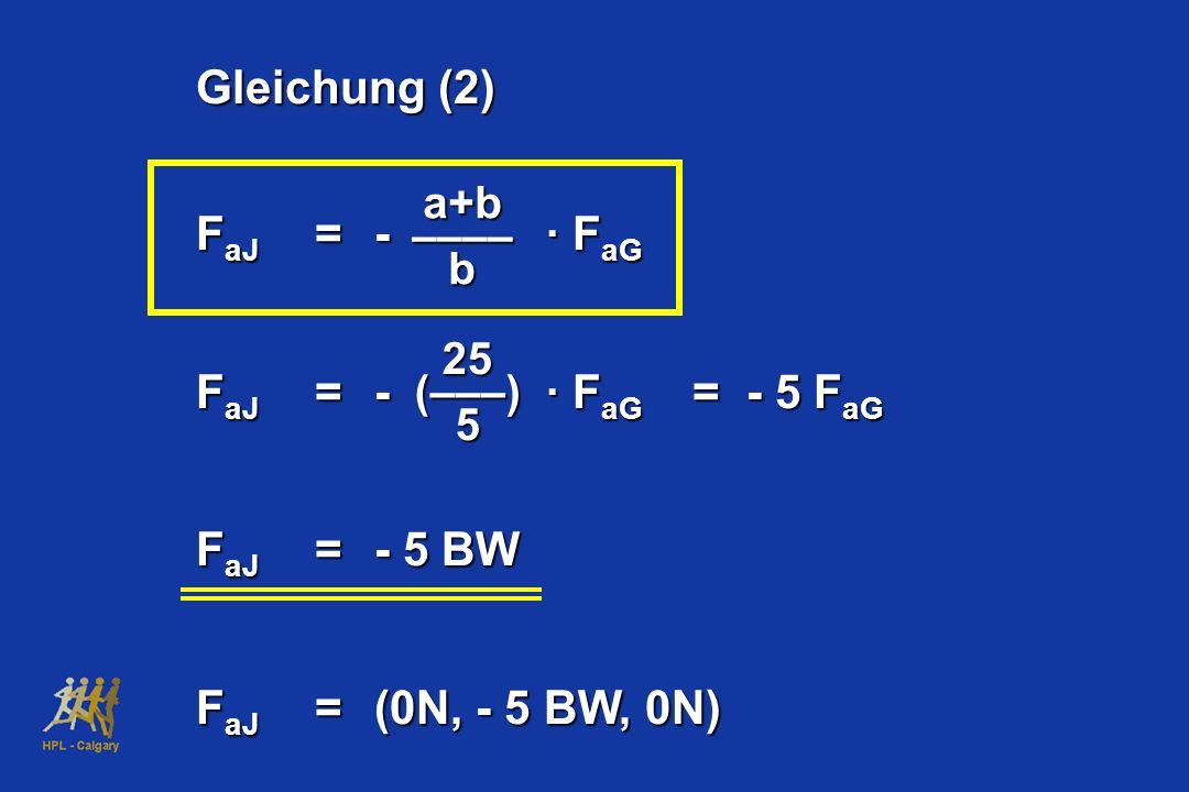 Gleichung (2) FaJ = - · FaG FaJ = - · FaG = - 5 FaG FaJ = - 5 BW