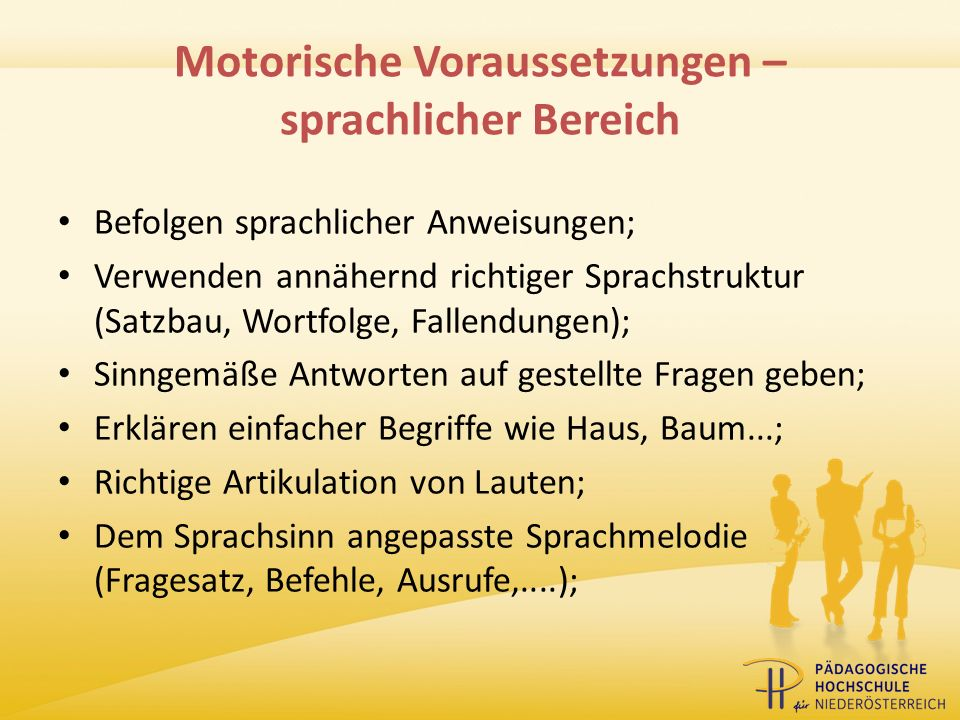 Motorische Voraussetzungen – sprachlicher Bereich