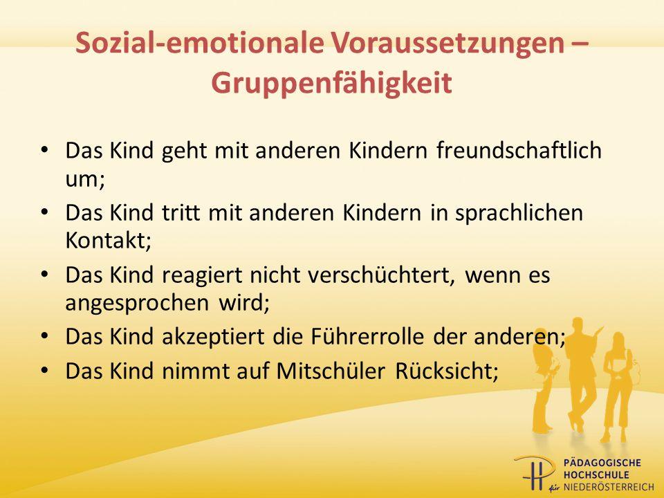 Sozial-emotionale Voraussetzungen – Gruppenfähigkeit
