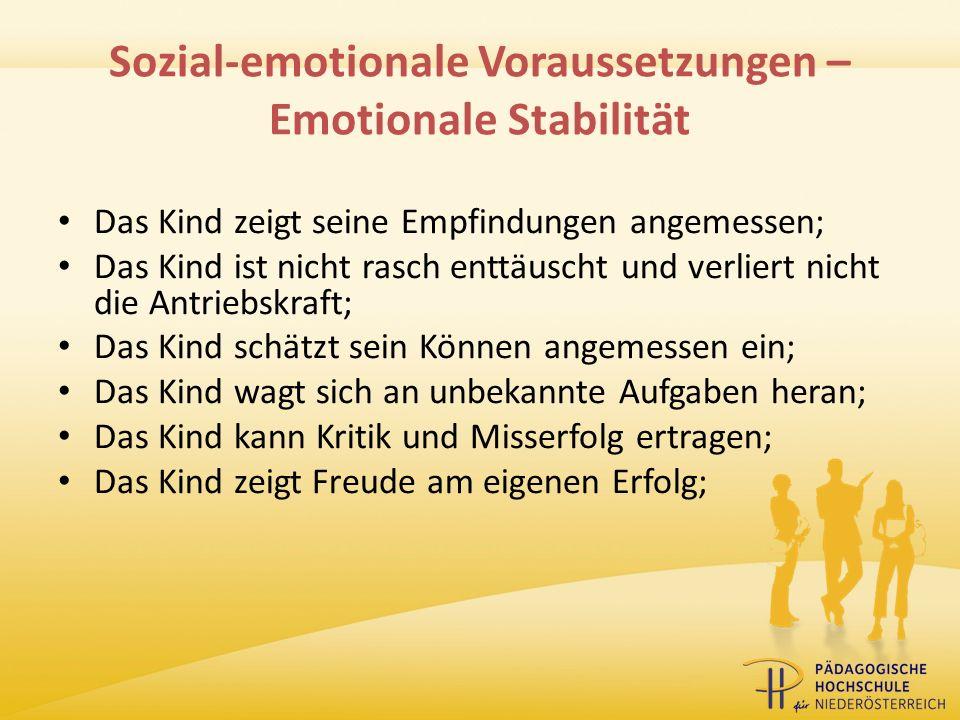 Sozial-emotionale Voraussetzungen – Emotionale Stabilität