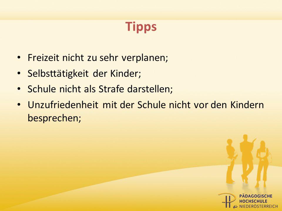 Tipps Freizeit nicht zu sehr verplanen; Selbsttätigkeit der Kinder;