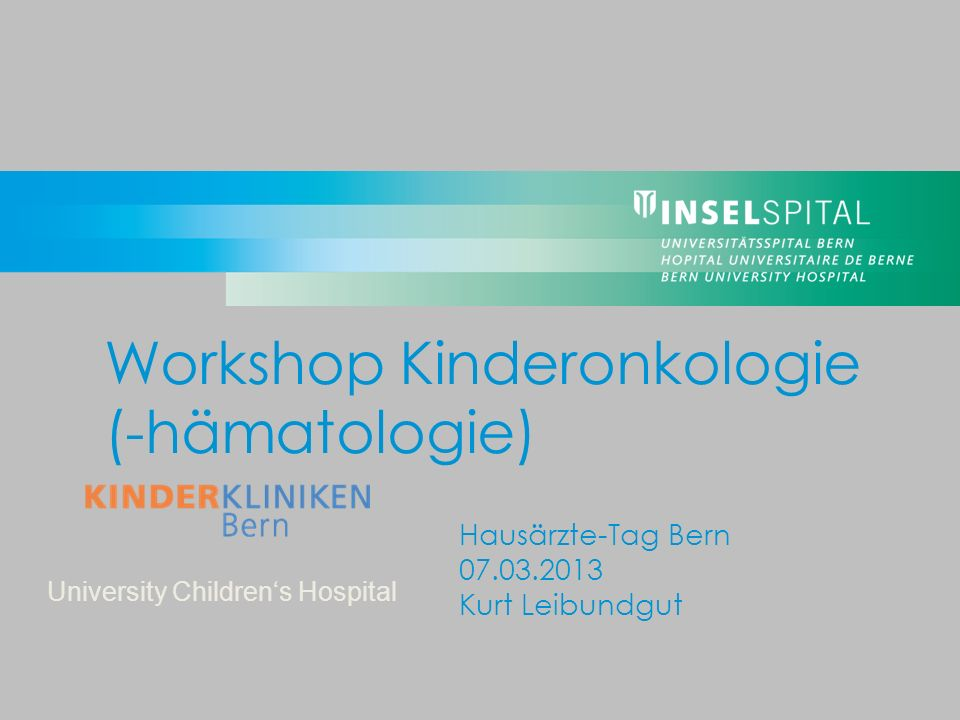Workshop Kinderonkologie (-hämatologie)