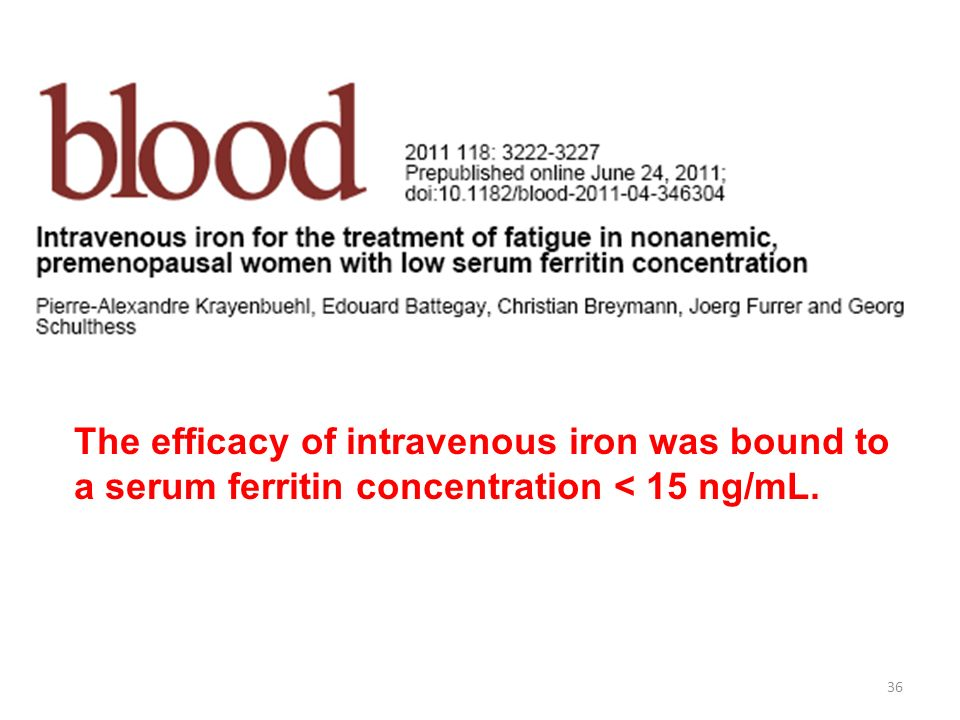 The efficacy of intravenous iron was bound to a serum ferritin concentration < 15 ng/mL.