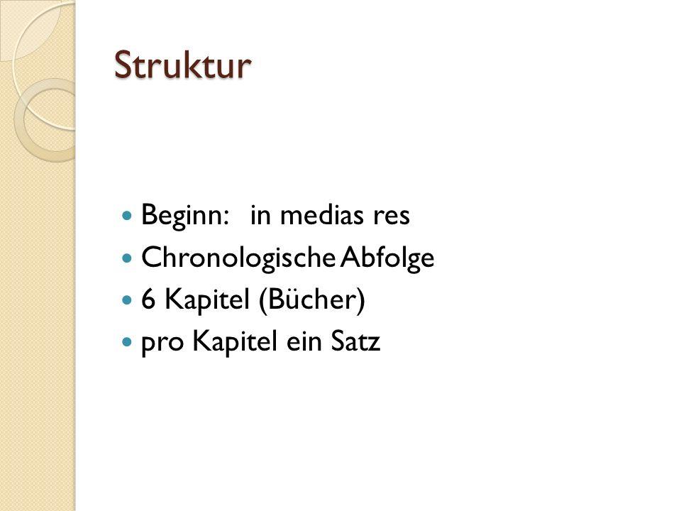 Struktur Beginn: in medias res Chronologische Abfolge