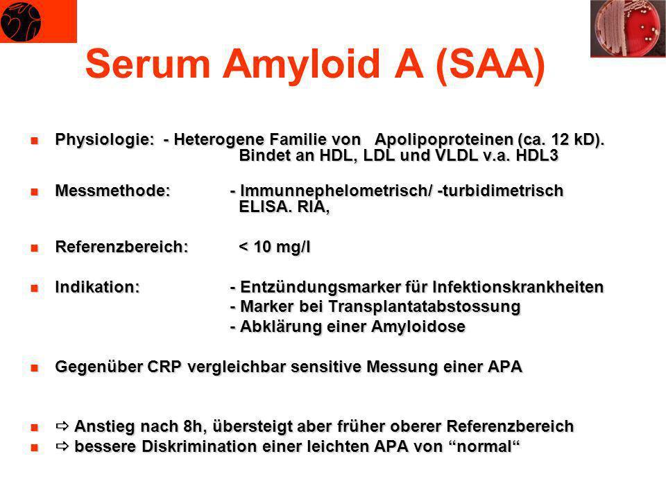 Serum Amyloid A (SAA) Physiologie: - Heterogene Familie von Apolipoproteinen (ca. 12 kD). Bindet an HDL, LDL und VLDL v.a. HDL3.