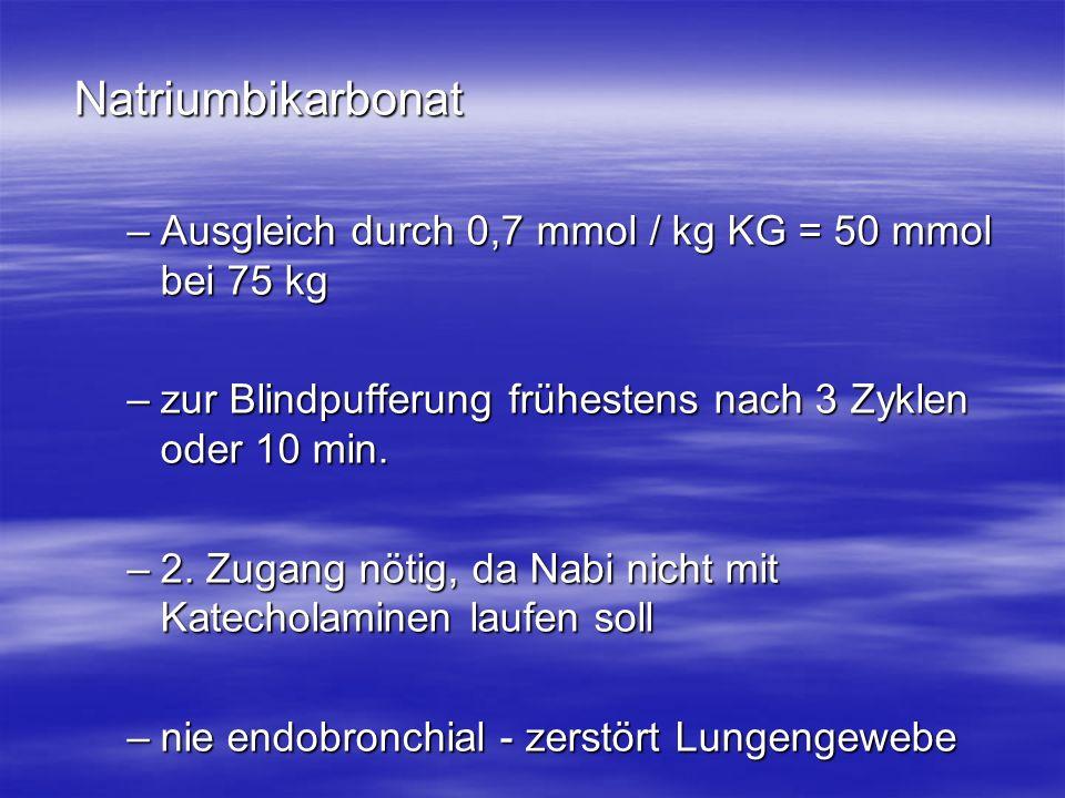 Natriumbikarbonat Ausgleich durch 0,7 mmol / kg KG = 50 mmol bei 75 kg