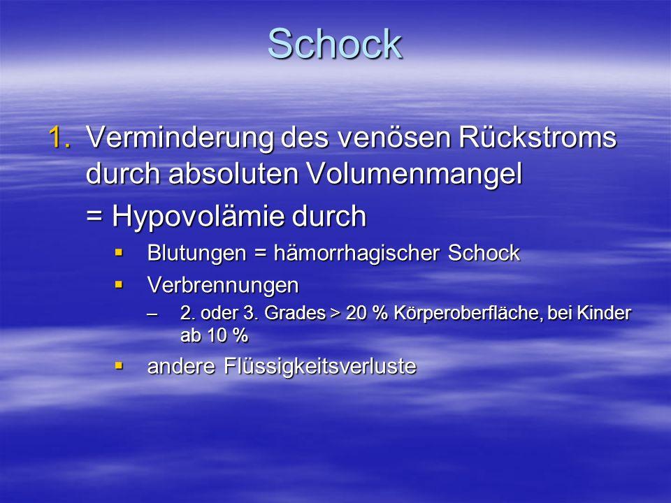 Schock Verminderung des venösen Rückstroms durch absoluten Volumenmangel. = Hypovolämie durch. Blutungen = hämorrhagischer Schock.