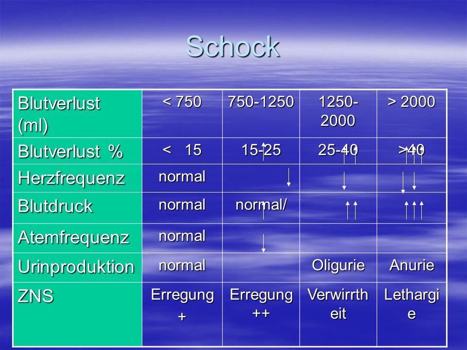 Schock Blutverlust (ml) Blutverlust % Herzfrequenz Blutdruck