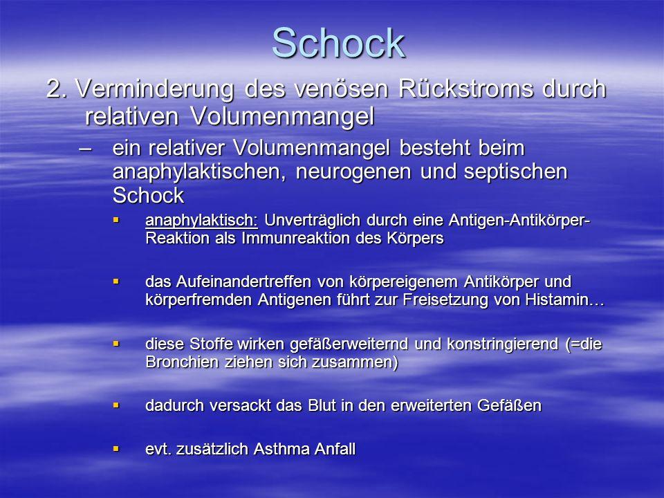 Schock 2. Verminderung des venösen Rückstroms durch relativen Volumenmangel.