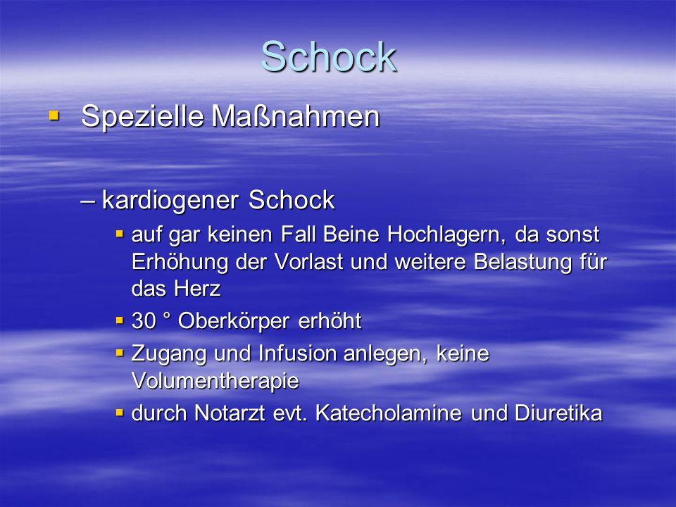 Schock Spezielle Maßnahmen kardiogener Schock
