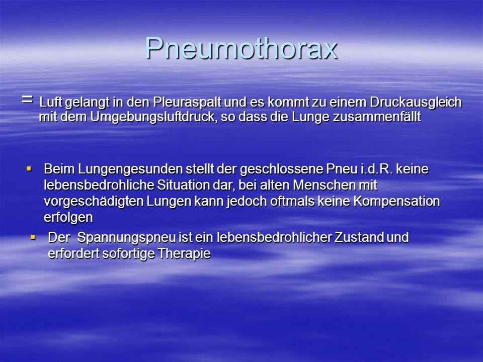 Pneumothorax = Luft gelangt in den Pleuraspalt und es kommt zu einem Druckausgleich mit dem Umgebungsluftdruck, so dass die Lunge zusammenfällt.