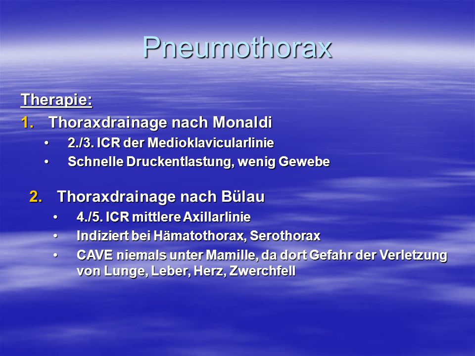 Pneumothorax Therapie: Thoraxdrainage nach Monaldi