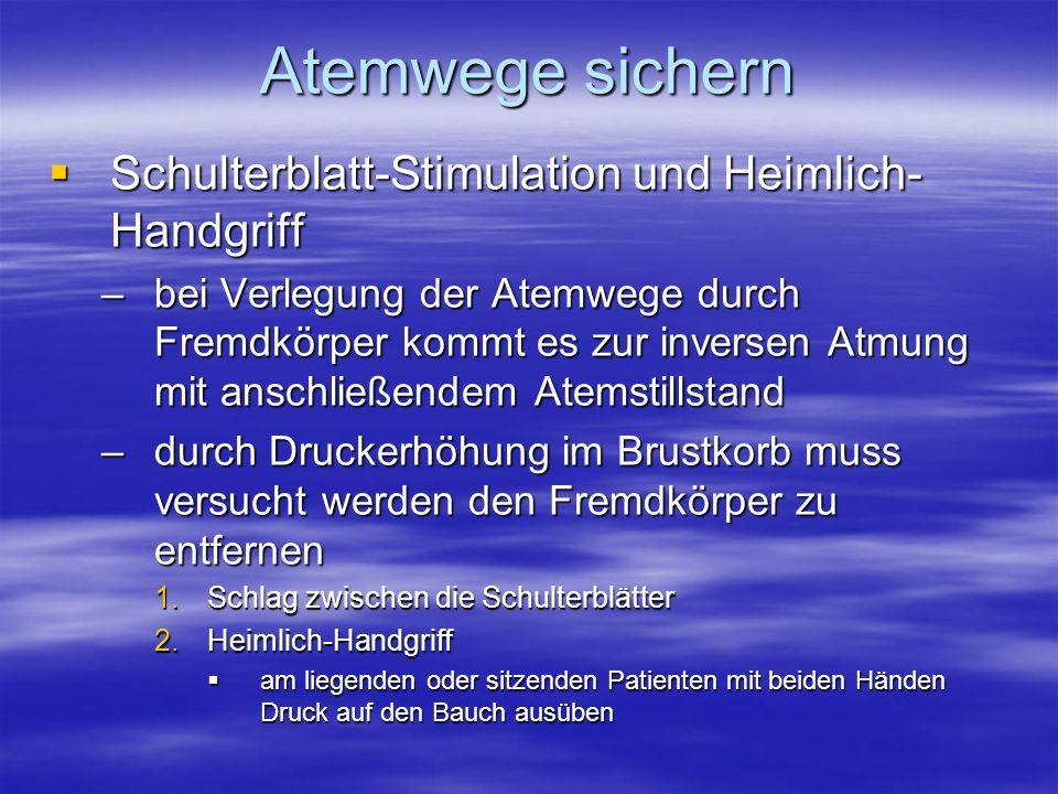 Atemwege sichern Schulterblatt-Stimulation und Heimlich-Handgriff