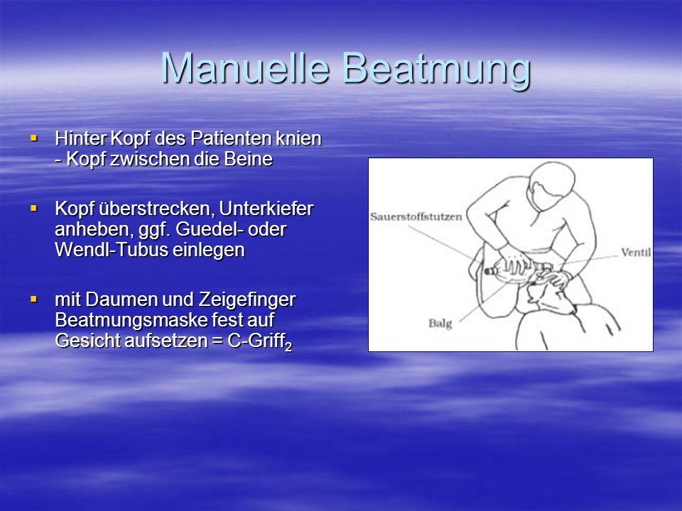 Manuelle Beatmung Hinter Kopf des Patienten knien - Kopf zwischen die Beine.