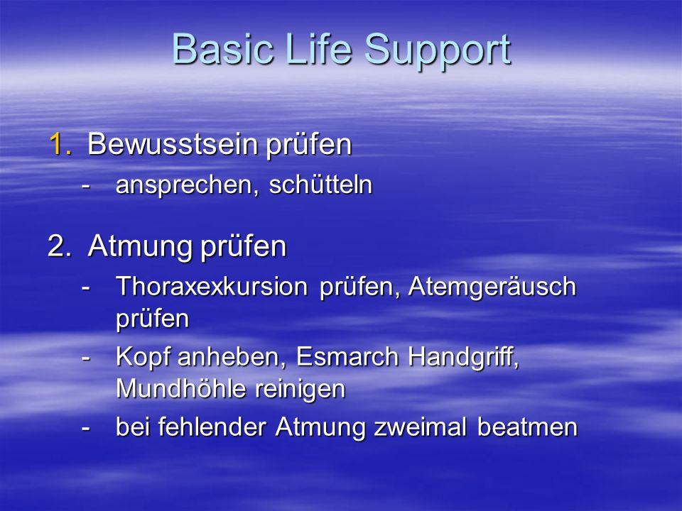 Basic Life Support Bewusstsein prüfen 2. Atmung prüfen