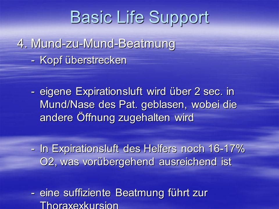 Basic Life Support 4. Mund-zu-Mund-Beatmung Kopf überstrecken